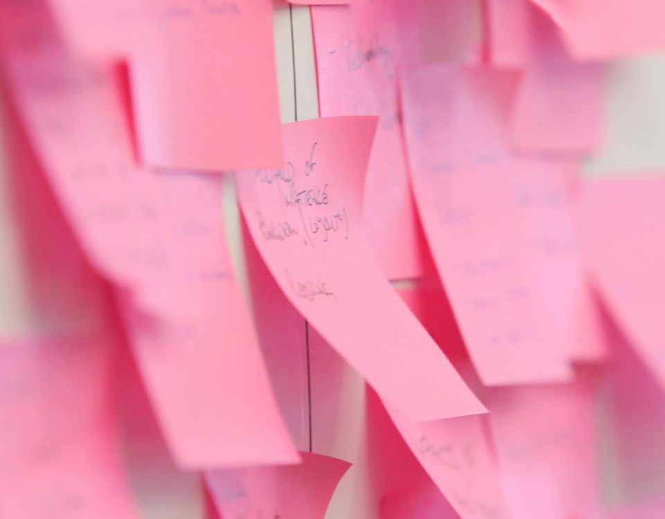 Photo of post-its on a whiteboard