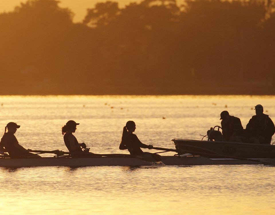 Photo of rowers and coach on Lake Wendouree. Ballarat