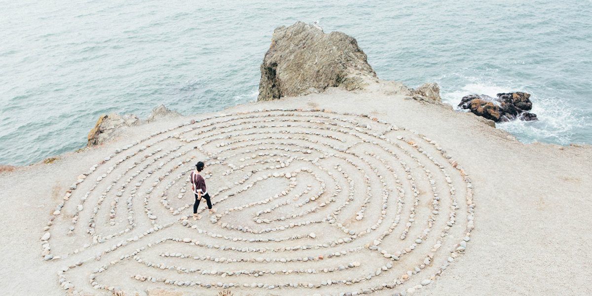 Photo of a woman in a labyrinth