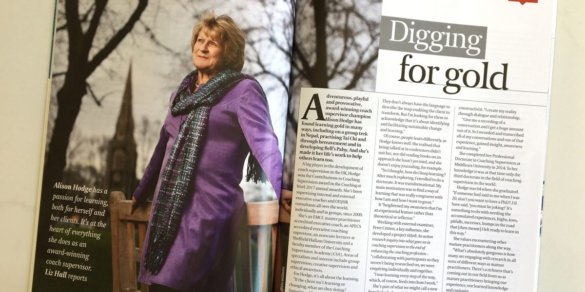 Photo of the Alison Hodge profile in Coaching at Work magazine