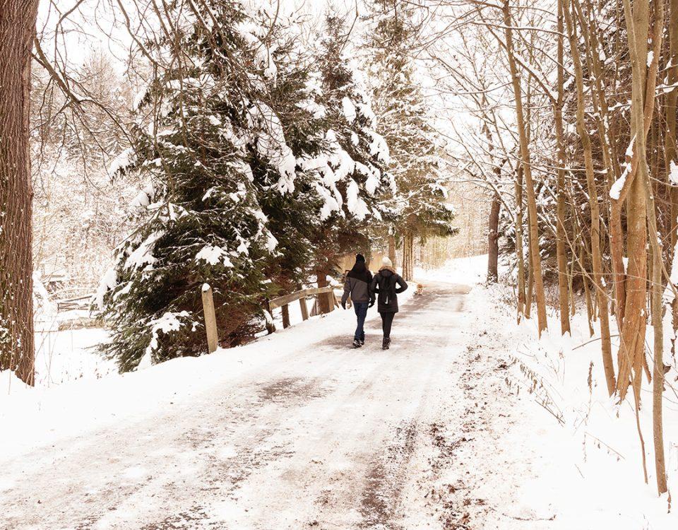 People walking on a snowy path in winter